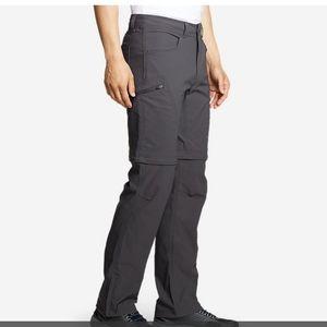 Eddie Bauer Smoke Gray Convertible Cargo Pants Size 33×32 NWOT